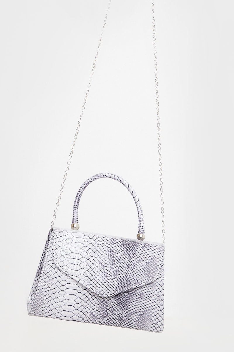 GREY FAUX CROC MINI HANDBAG WITH CHAIN