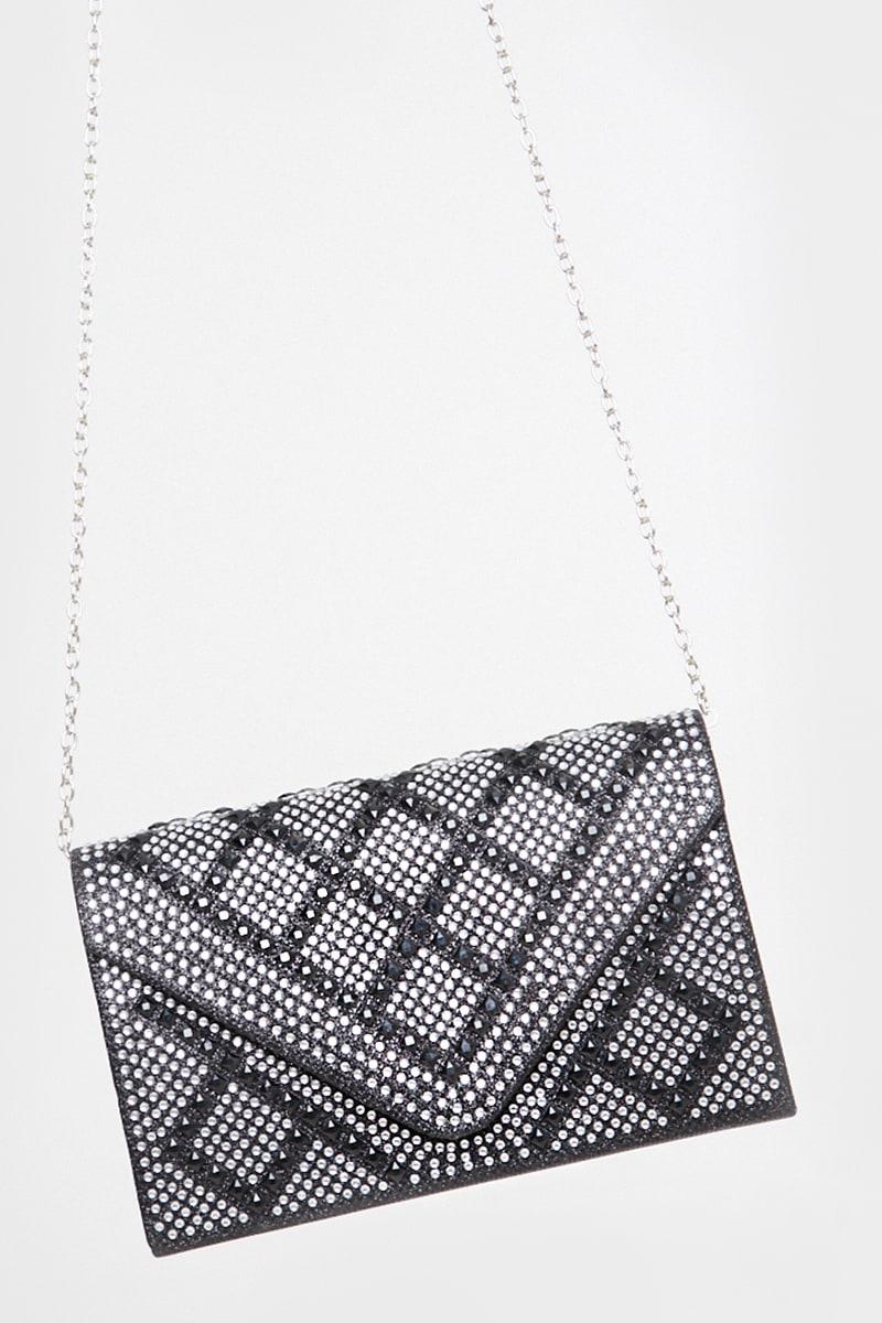 BLACK DIAMANTE CLUTCH BAG WITH CHAIN