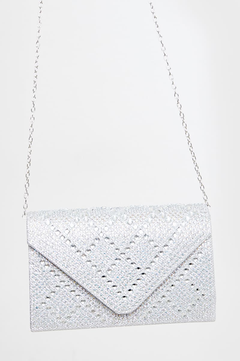 SILVER DIAMANTE CLUTCH BAG WITH CHAIN