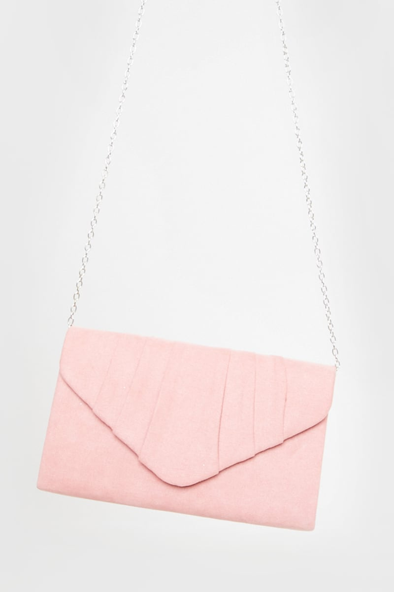 BLUSH FAUX SUEDE PLEATED CLUTCH BAG WITH CHAIN
