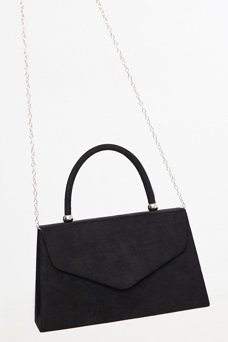 BLACK FAUX SUEDE MINI HANDBAG WITH CHAIN
