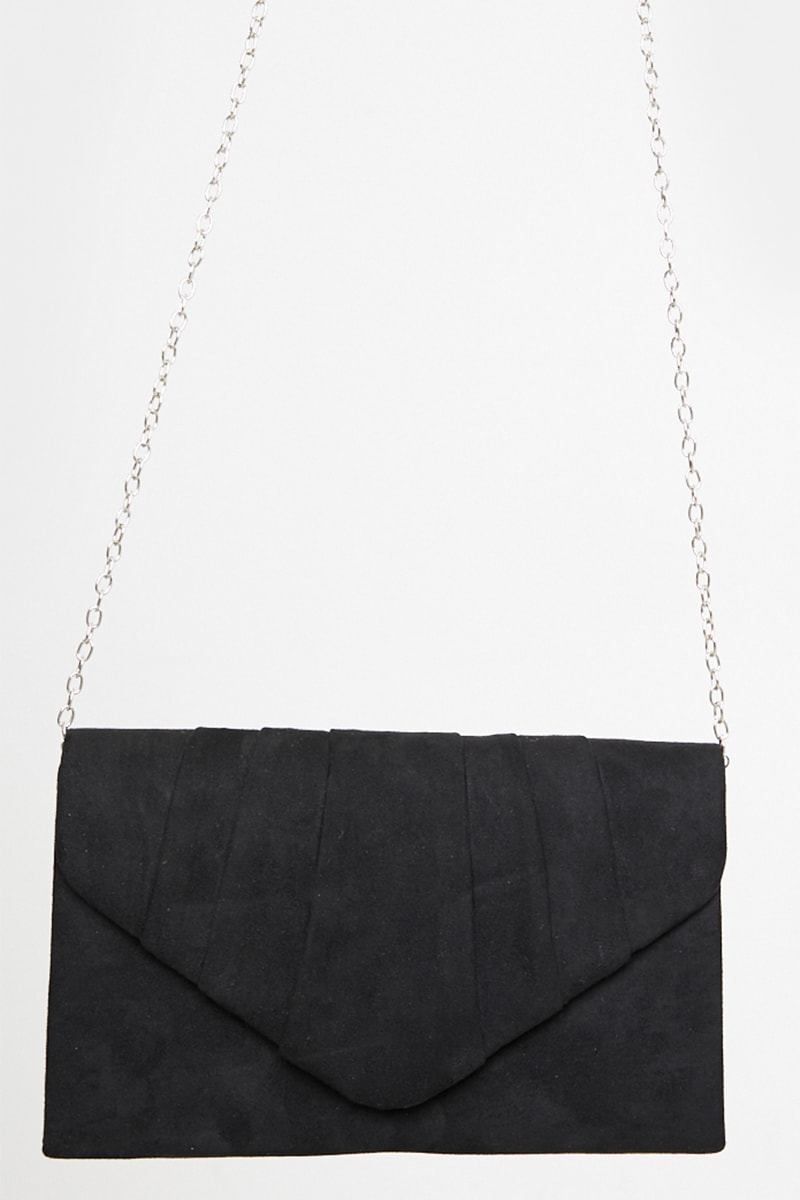 BLACK FAUX SUEDE PLEATED CLUTCH BAG WITH CHAIN