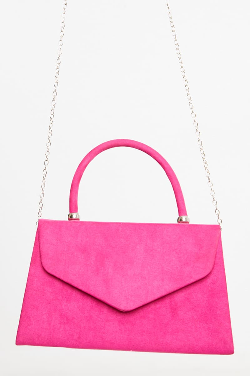 BRIGHT PINK FAUX SUEDE MINI HANDBAG WITH CHAIN