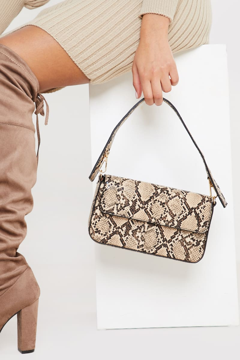 SNAKE PRINT PU SHOULDER BAG