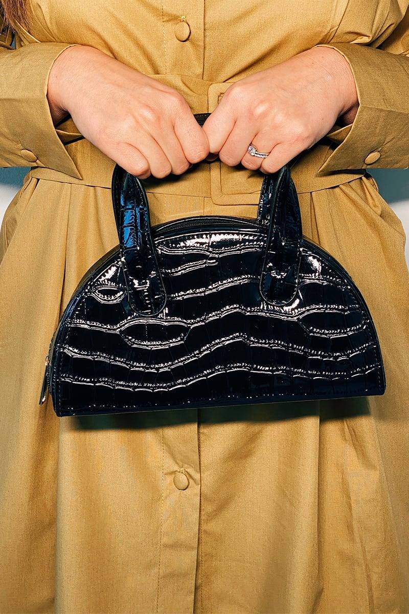 BLACK CROC PU HALF CIRCLE GRAB BAG