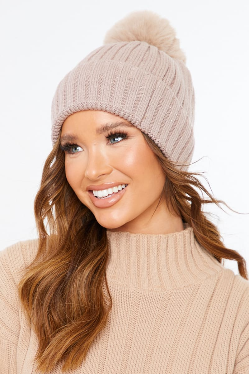 BEIGE RIBBED KNITTED BOBBLE HAT