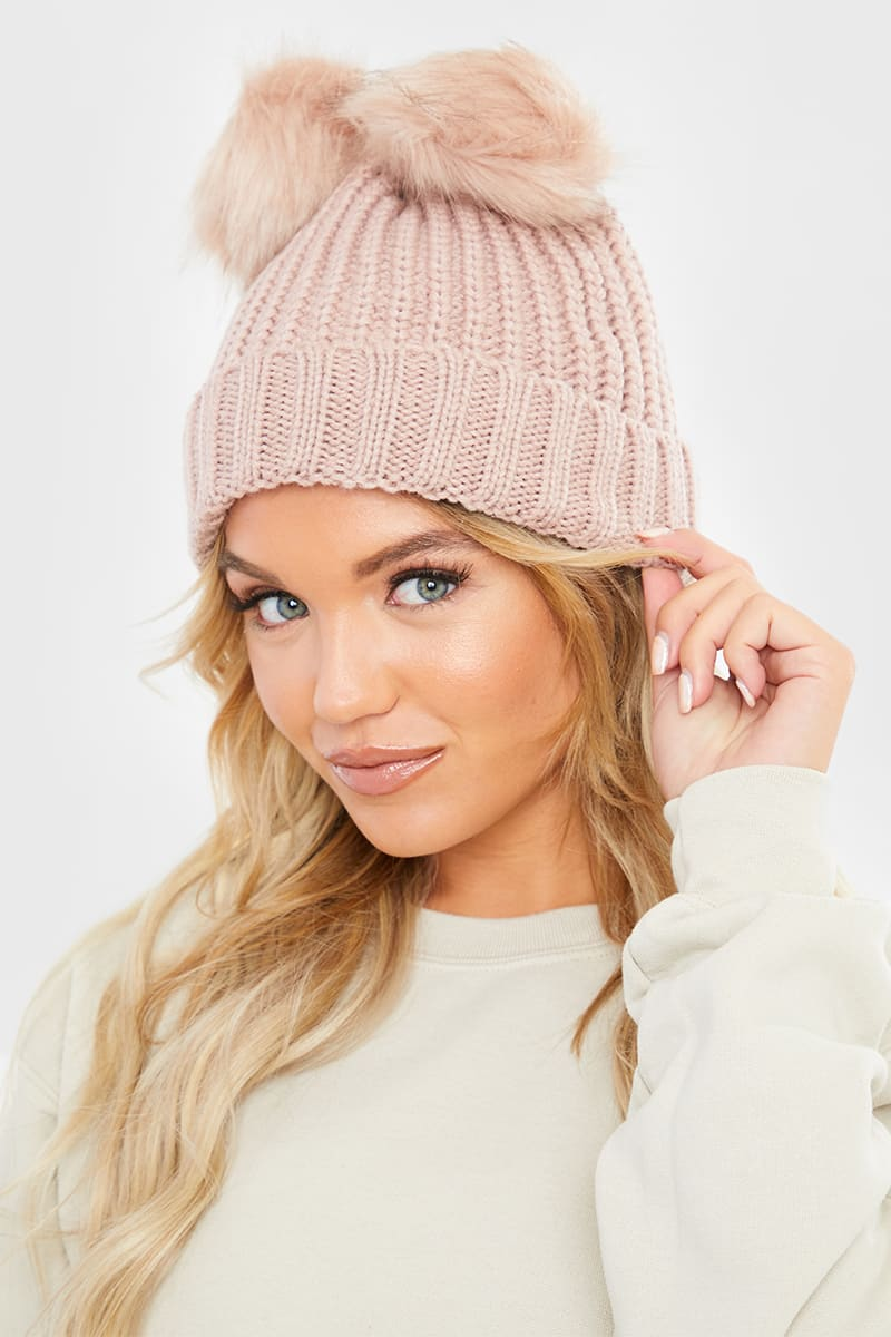 BEIGE DOUBLE BOBBLE KNITTED HAT