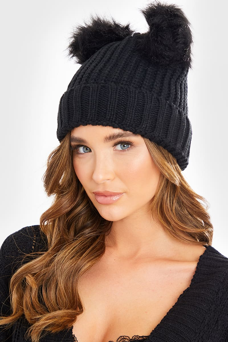 BLACK DOUBLE BOBBLE KNITTED HAT