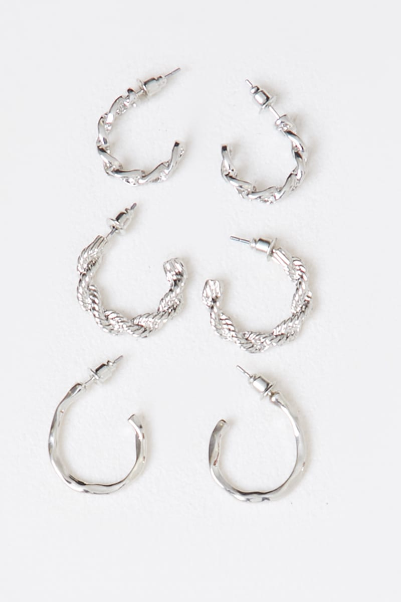 MULTI PACK OF SILVER TEXTURED EARRINGS