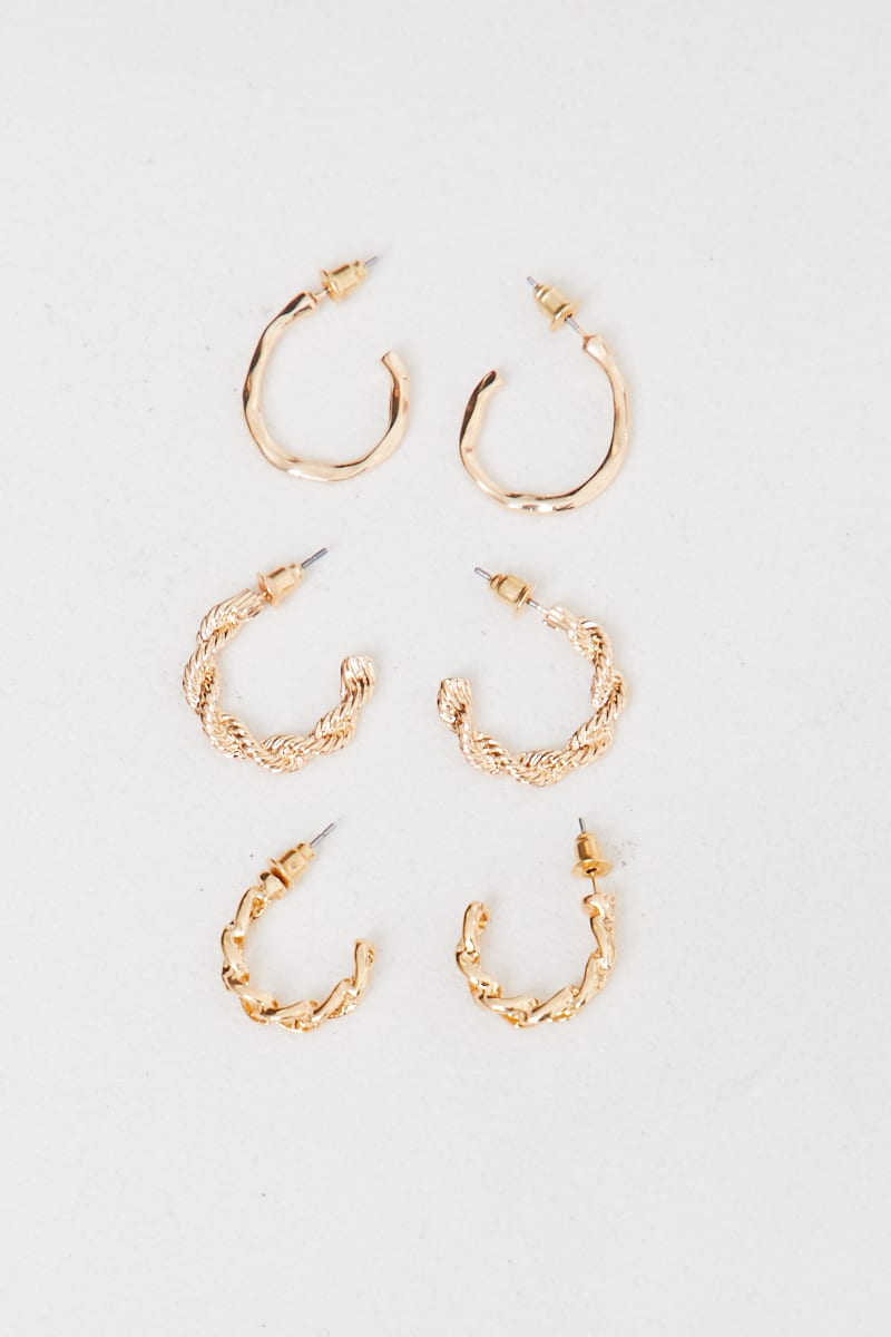MULTI PACK OF GOLD TEXTURED EARRINGS