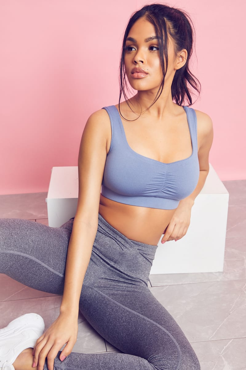 BLUE RUCHED BUST SPORTS BRA