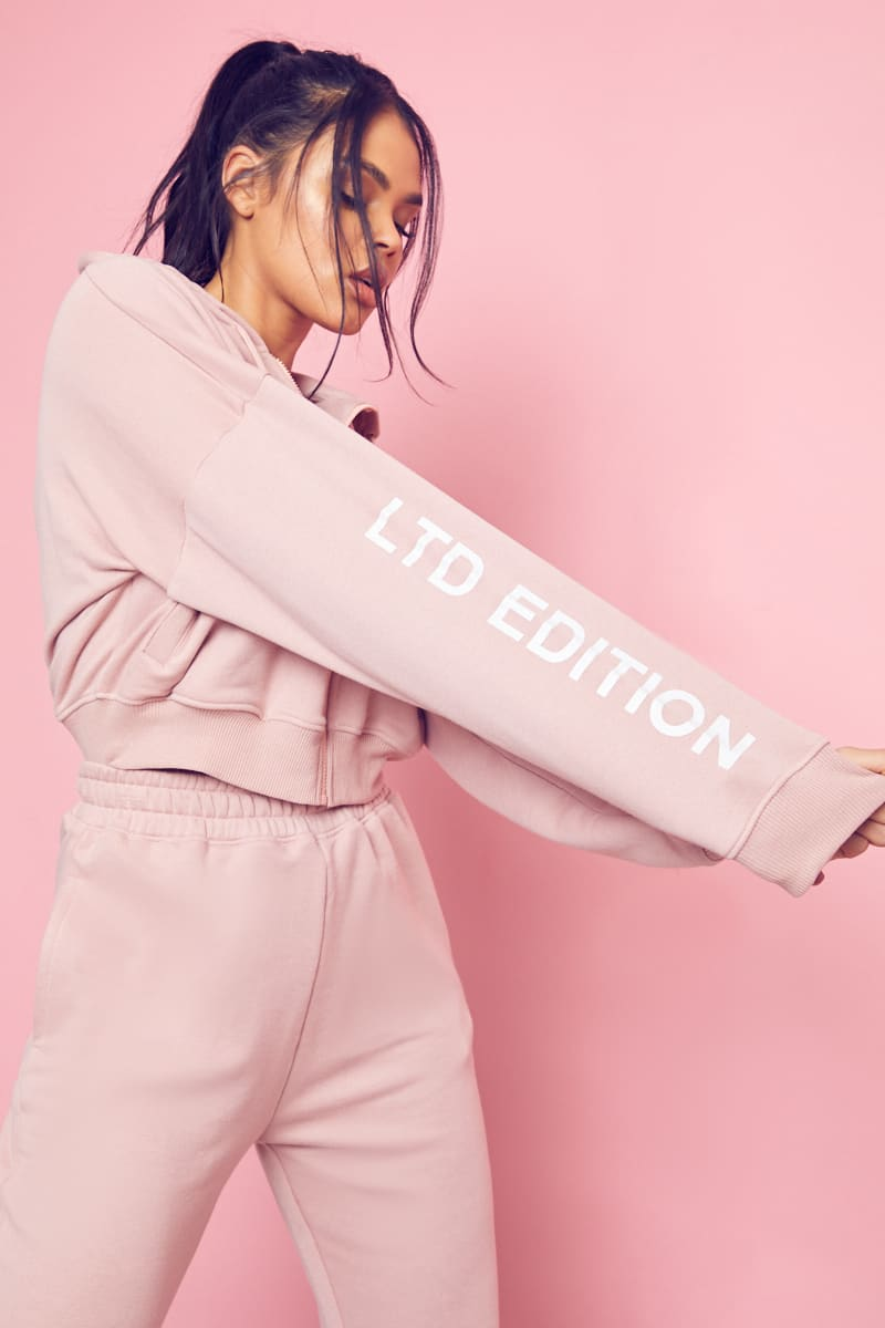 PINK LTD EDITION ZIP THROUGH OVERSIZED CROPPED HOODIE