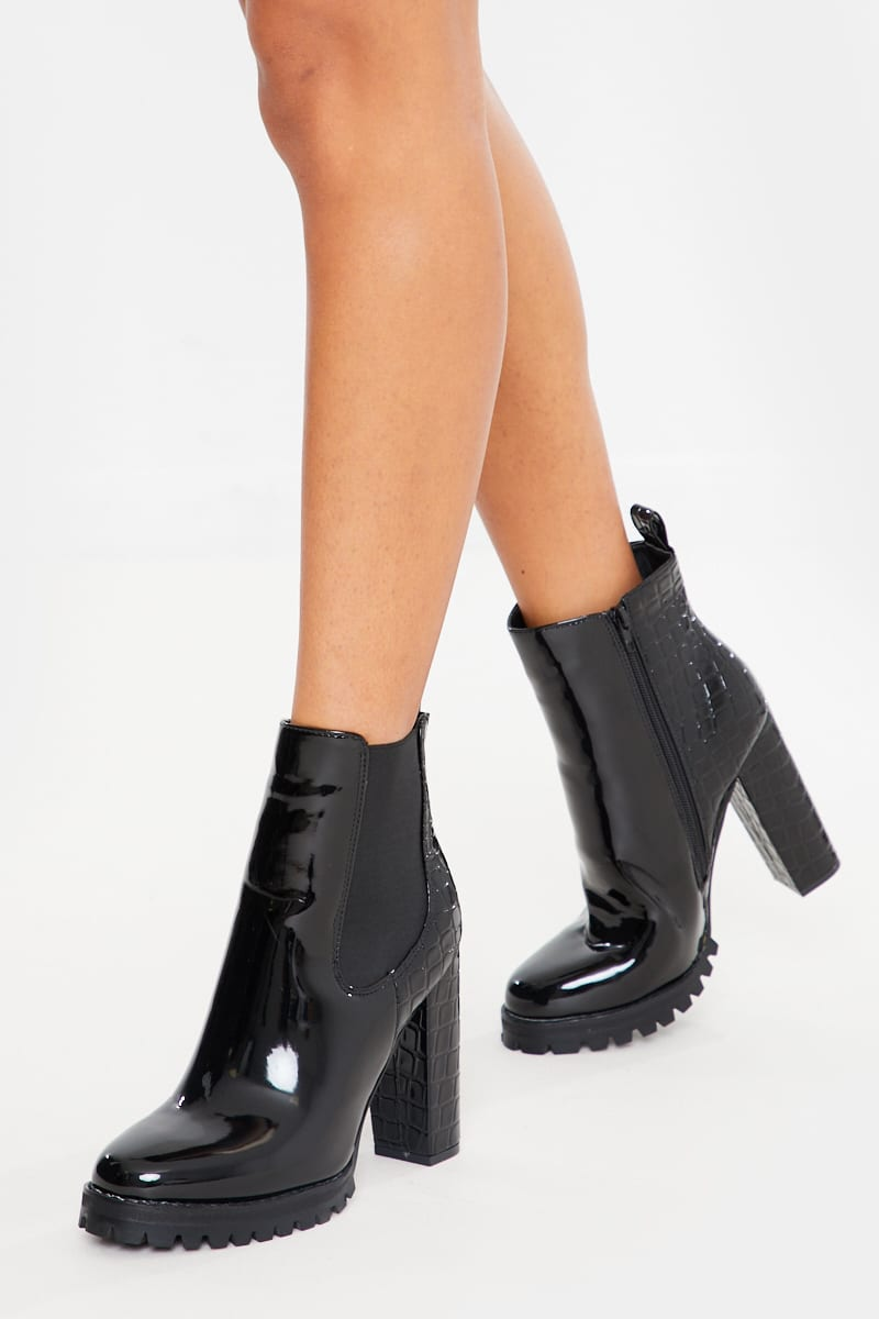 black croc patent heeled ankle boots
