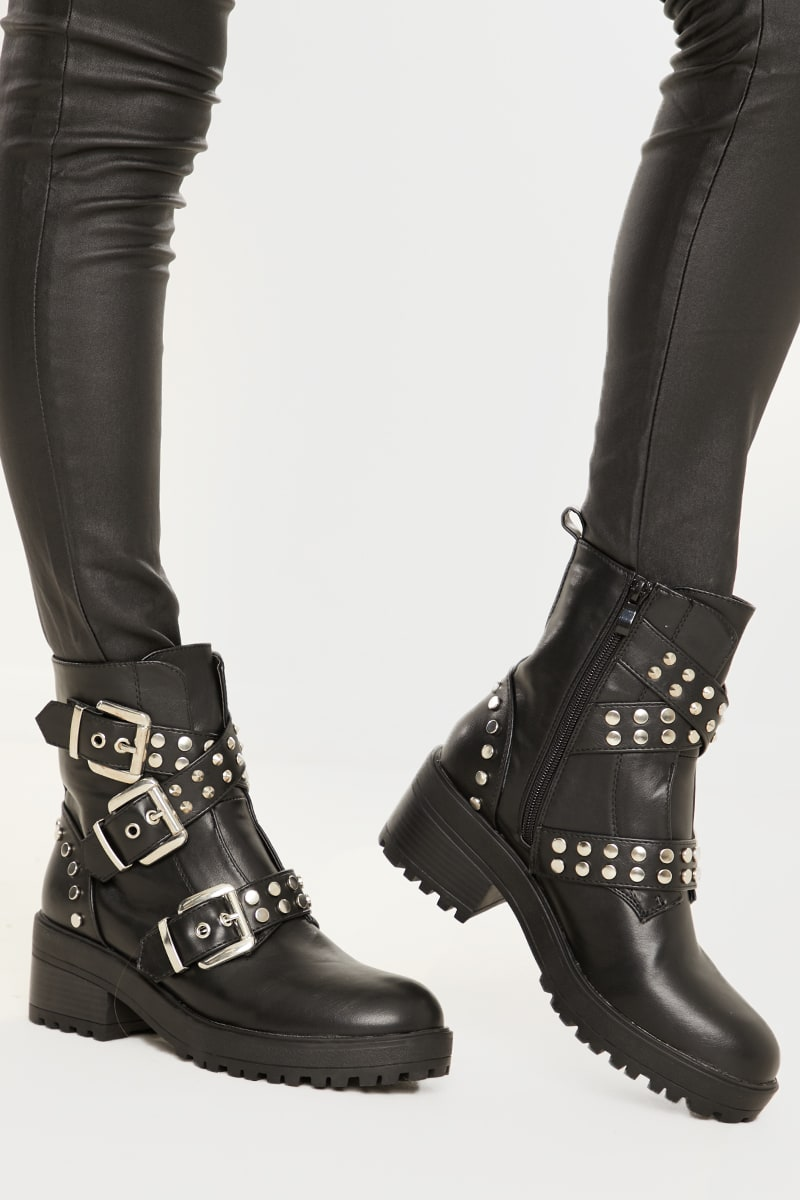 BLACK CROSS STRAP BUCKLE DETAIL BIKER BOOTS