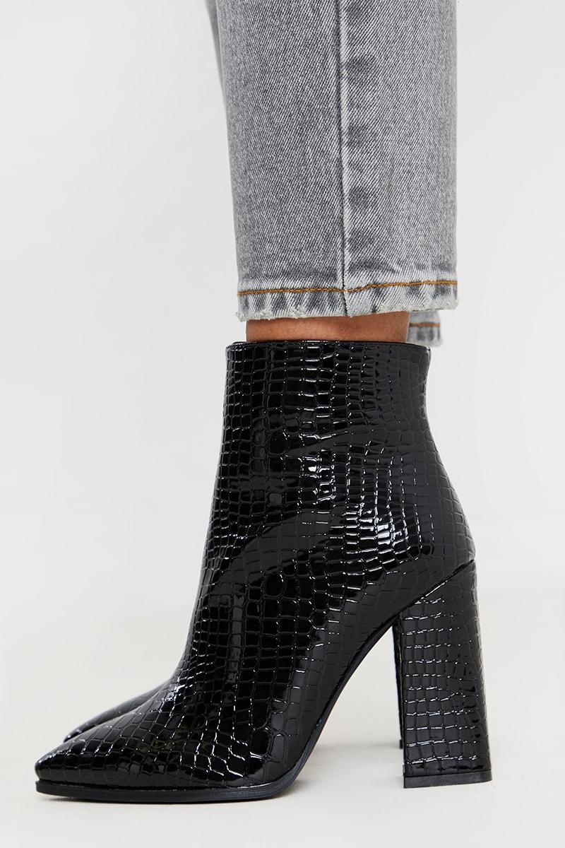 Black Patent Croc Pointed Block Heel