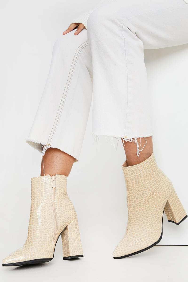CREAM PATENT CROC POINTED BLOCK HEEL ANKLE BOOTS