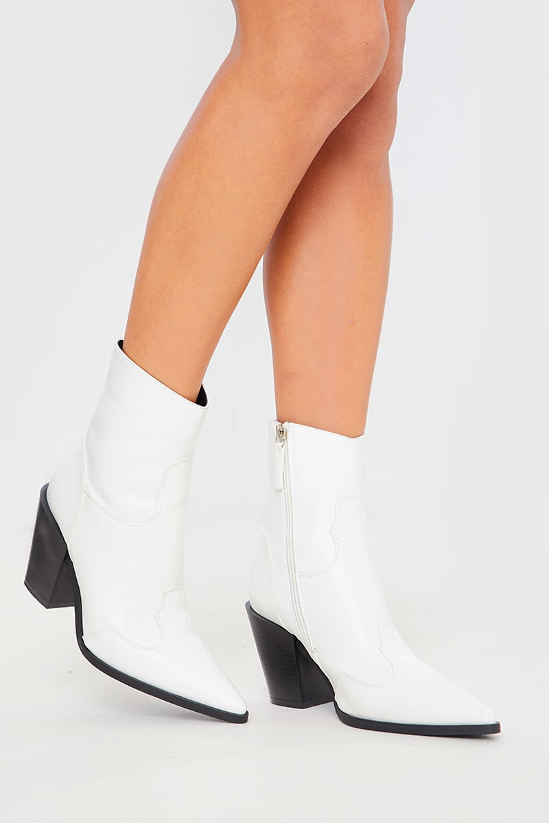 WHITE PU POINTED COWBOY BOOTS