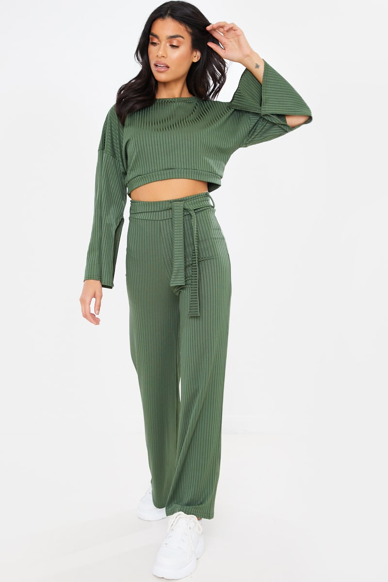 KHAKI RIBBED CROPPED TOP AND BOTTOM LOUNGEWEAR SET