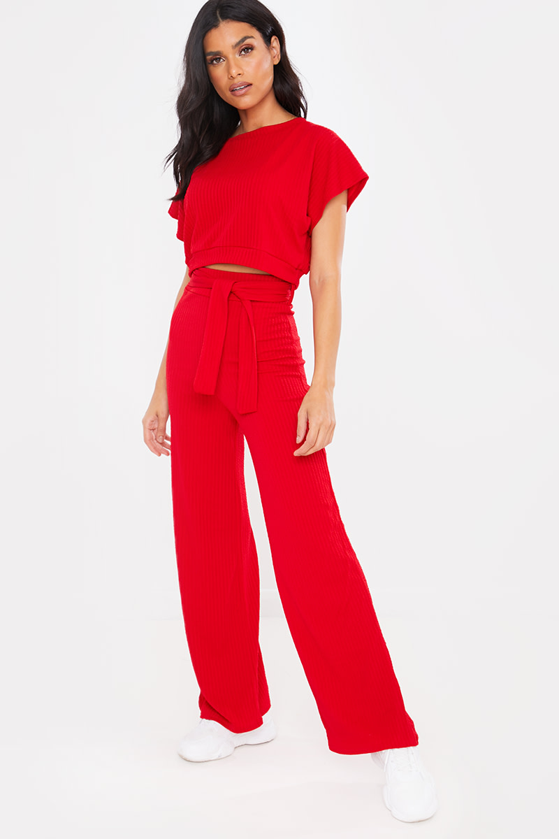 RED TEXTURED CROP TOP AND TIE WAIST TROUSER CO ORD LOUNGEWEAR SET