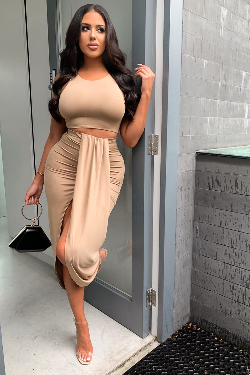 TAUPE SLINKY CROP TOP AND DRAPED DETAIL MIDI SKIRT CO-ORD