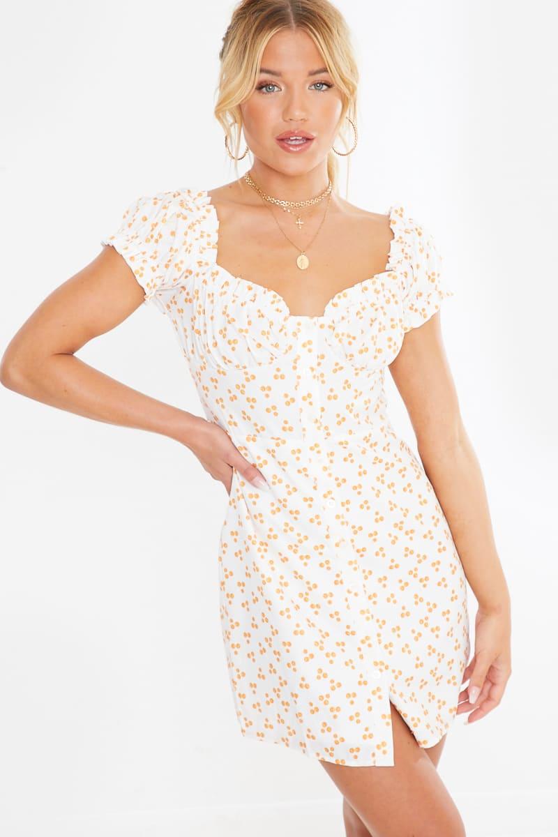 white abstract polka frill mini dress