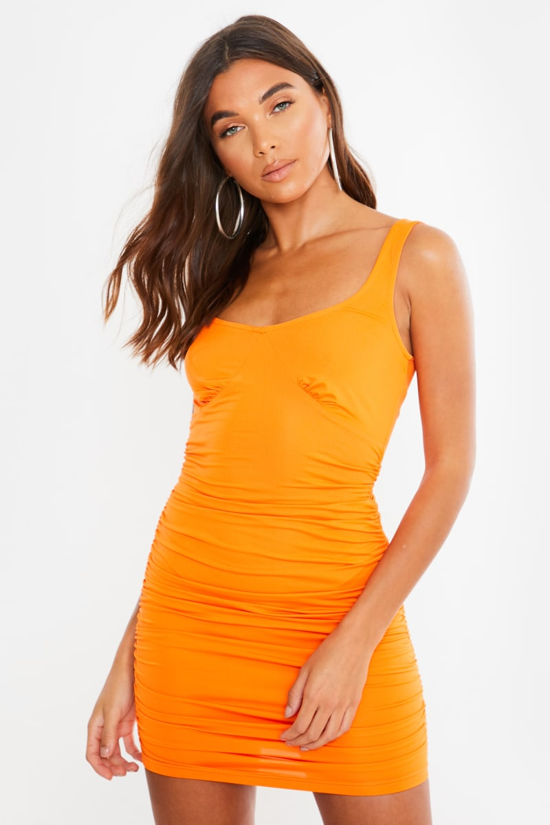 orange ruched side bodycon mini dress