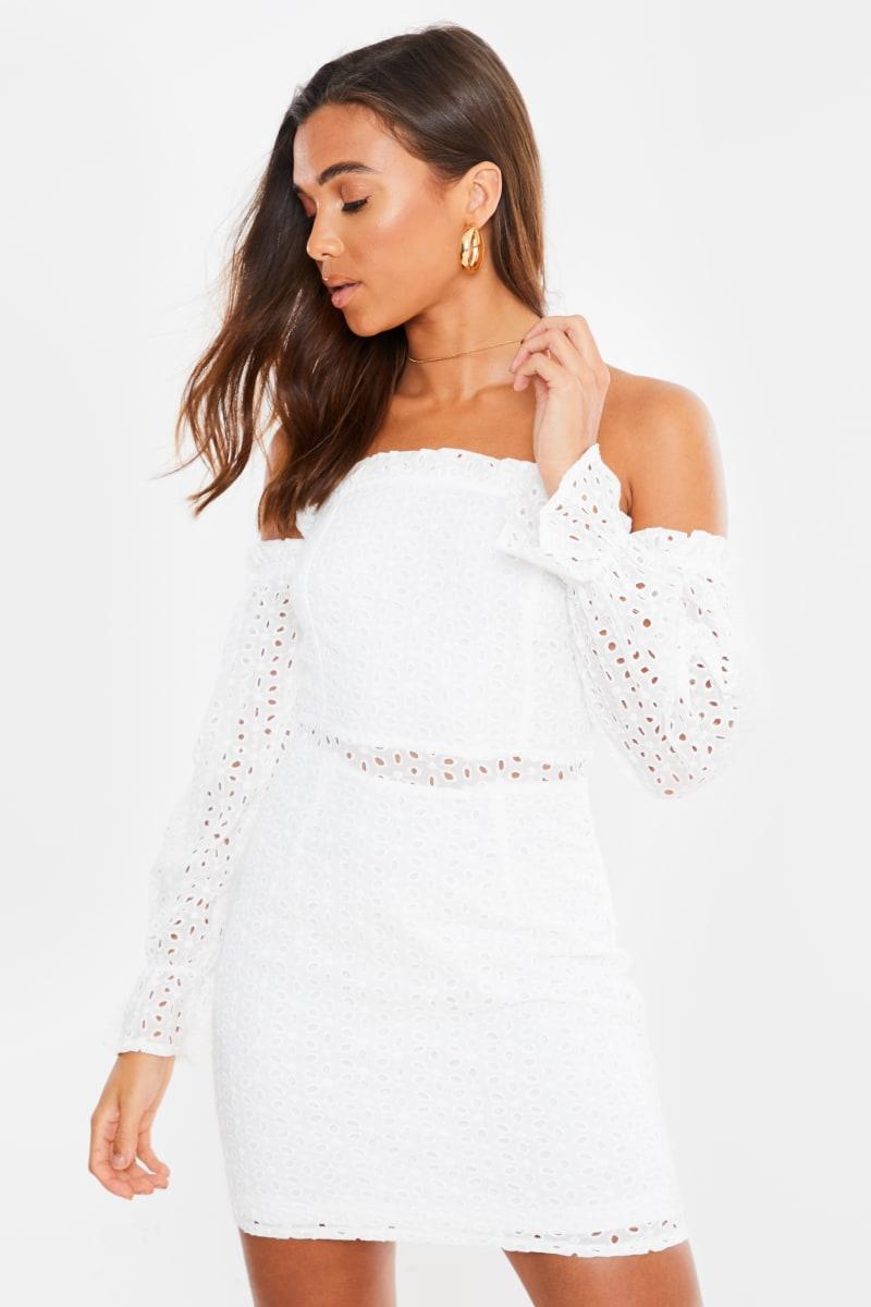 white broderie anglaise bardot bodycon mini dress
