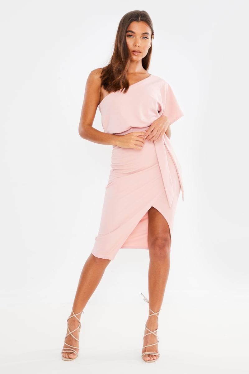 rose pink one shoulder wrap midi dress