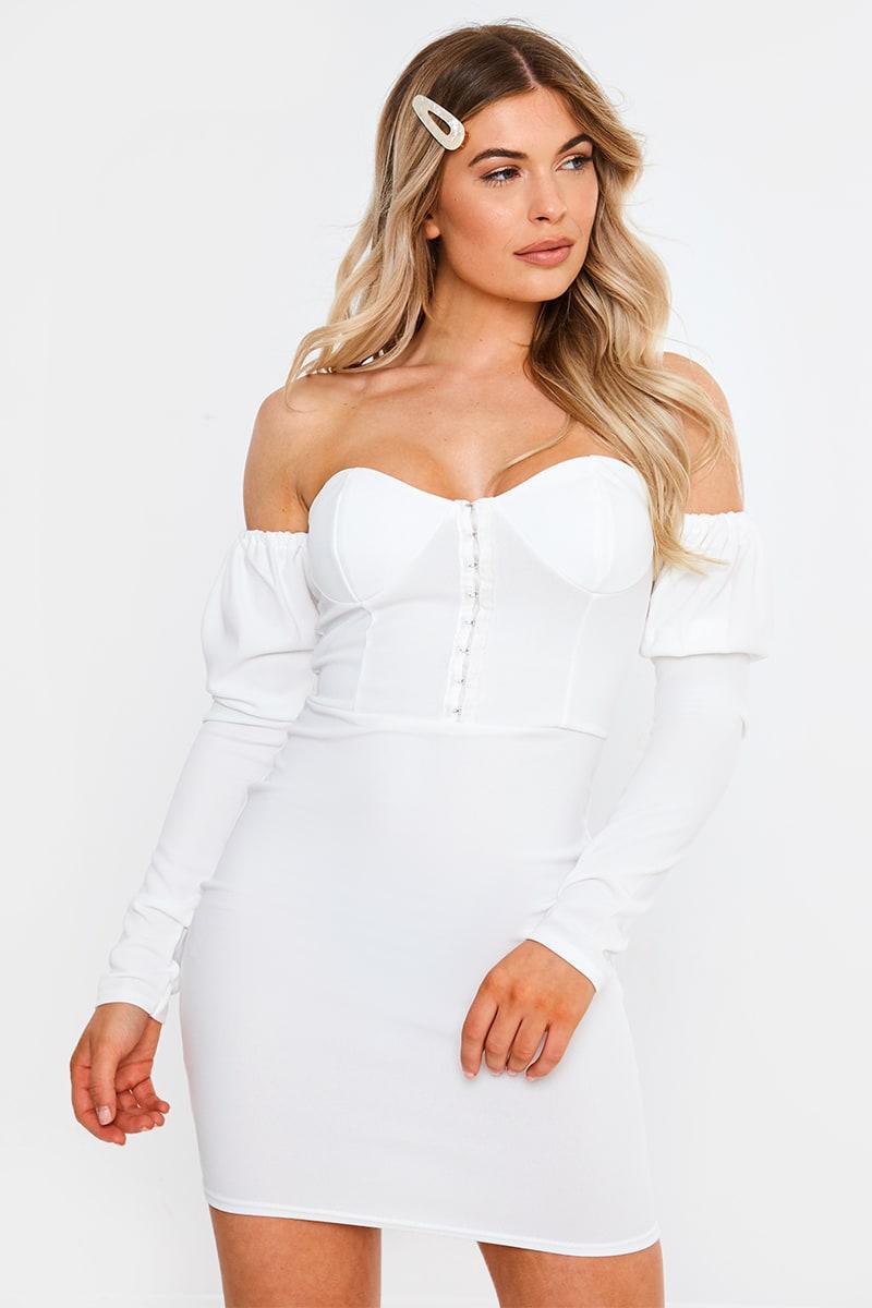 white hook and eye detail bardot mini dress