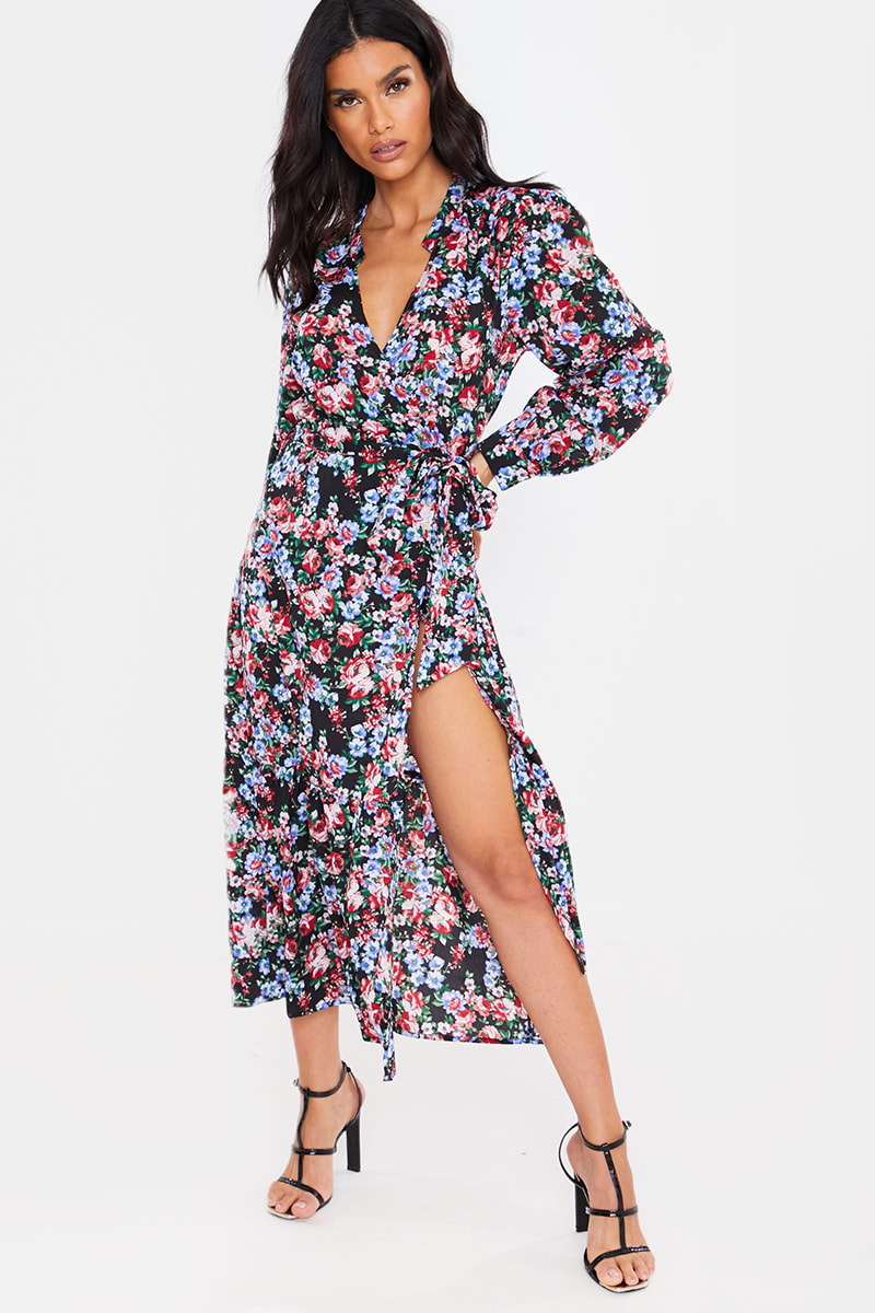 BLACK FLORAL WRAP FRONT FRILL HEM MIDI DRESS