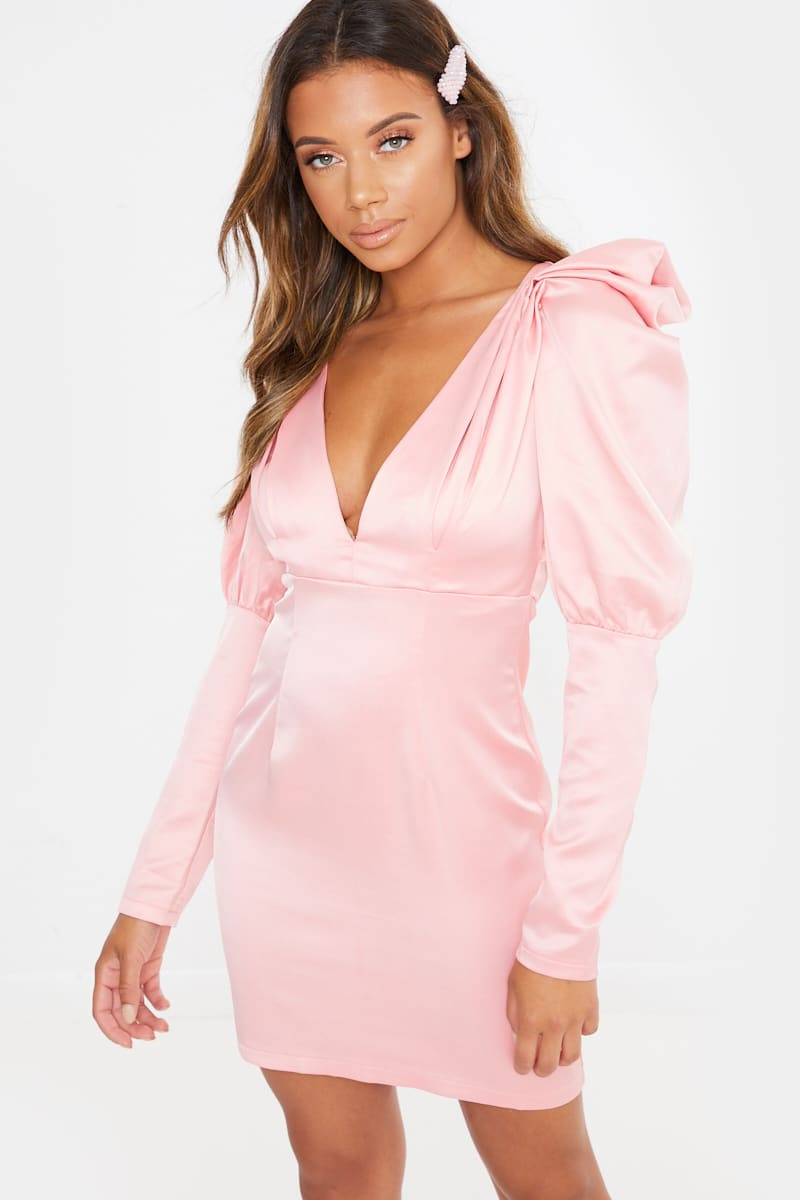 pink satin puff sleeve plunge mini dress