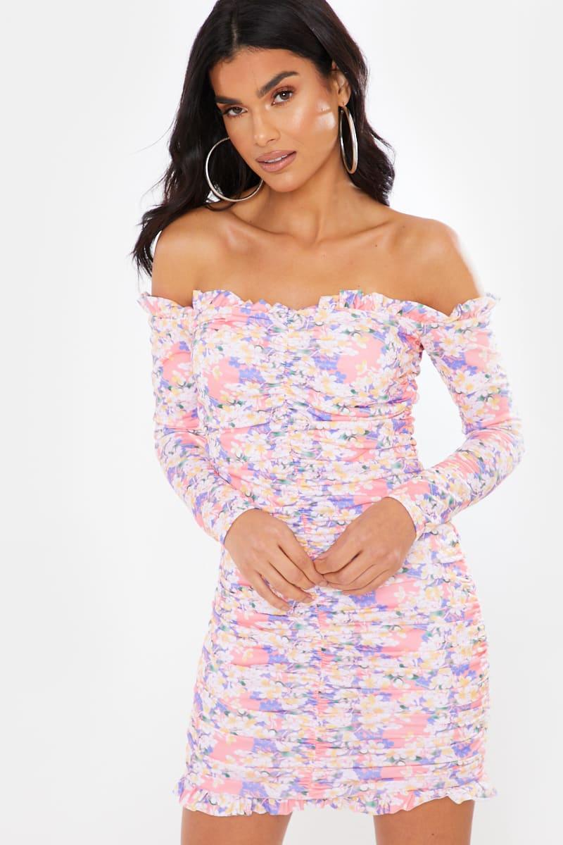 PINK FLORAL RUCHED BARDOT DRESS