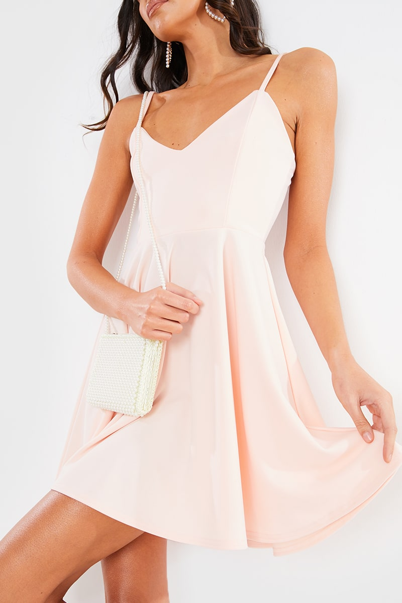 BLUSH BASIC SCUBA SKATER MINI DRESS