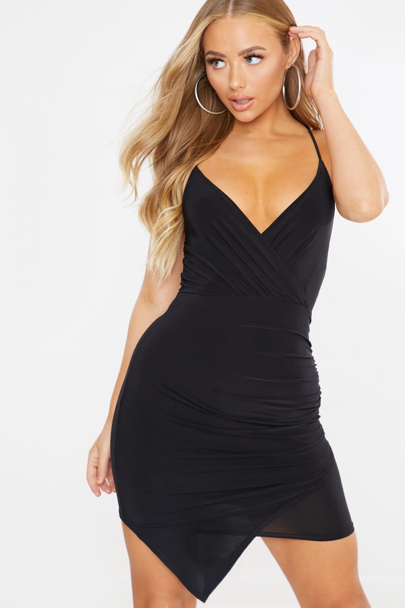 black slinky wrap over ruched mini dress