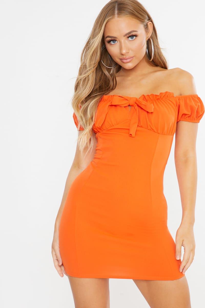 orange tie front milkmaid mini dress