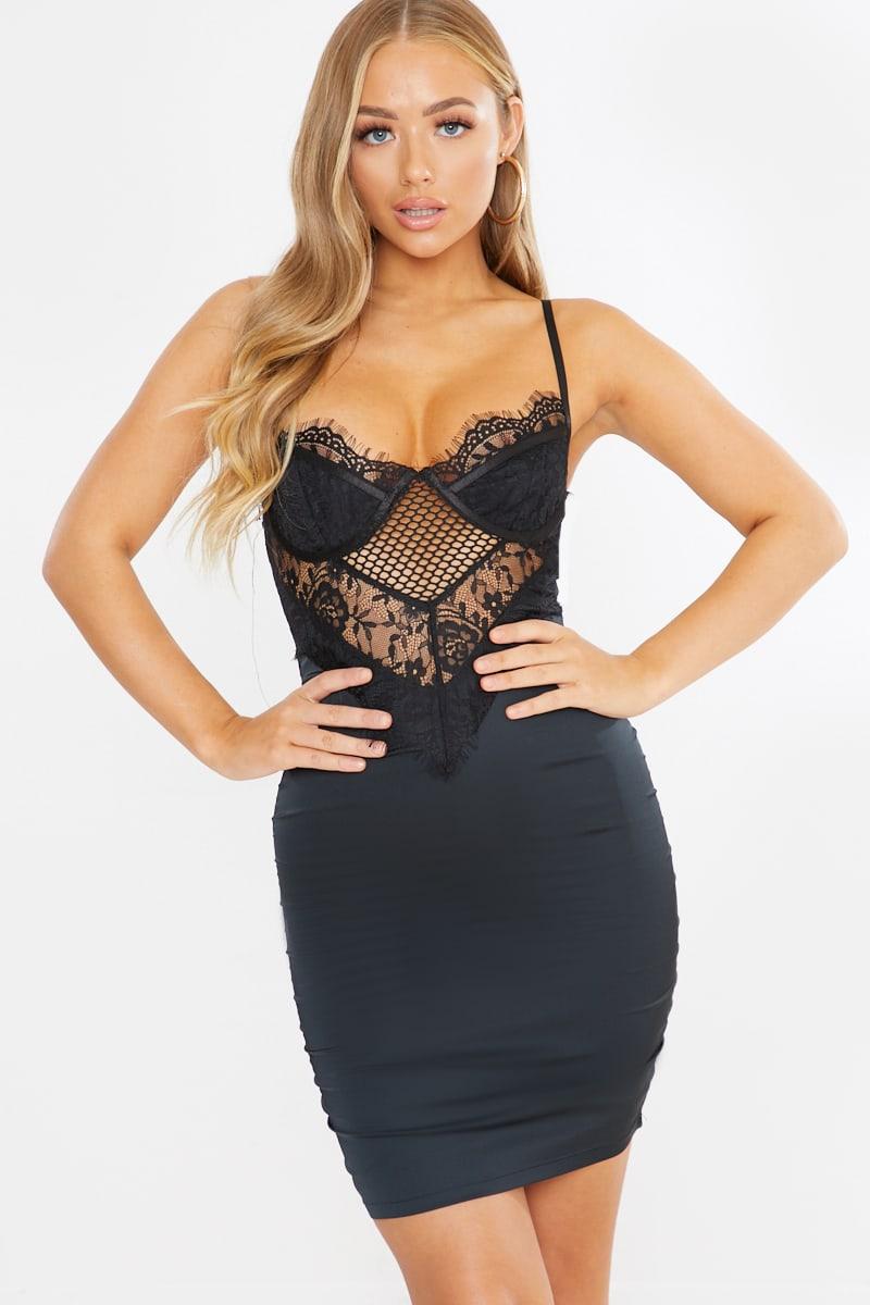 black satin and lace mix midi dress