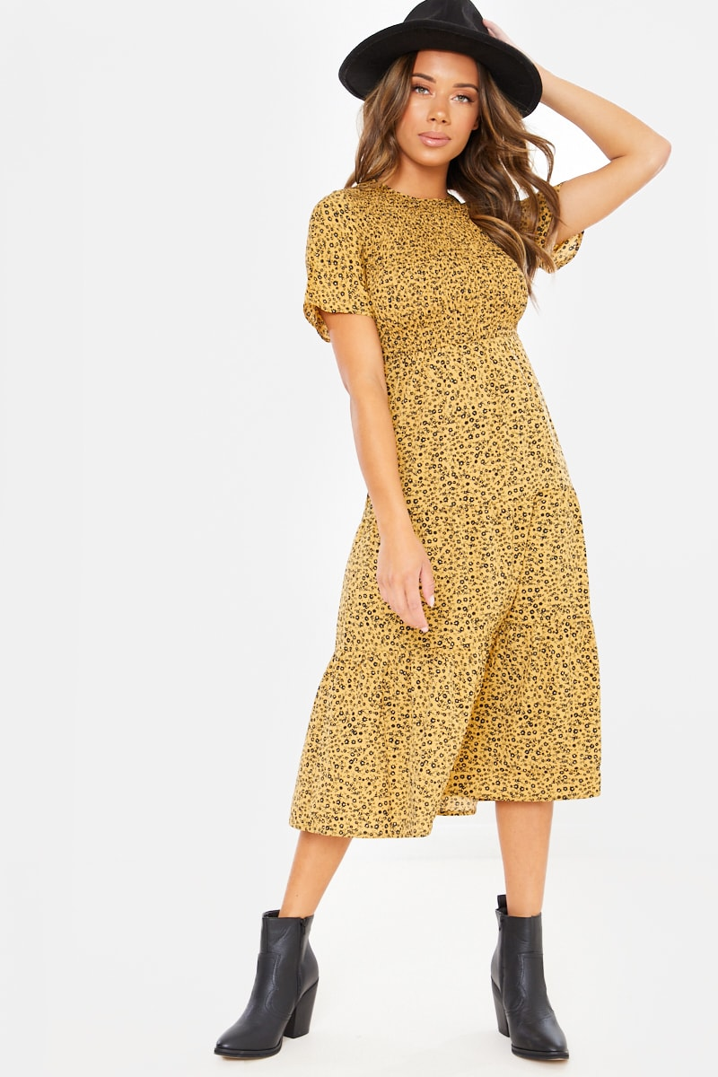 EMILYMAE MUSTARD DITSY FLORAL SHIRRED MIDI DRESS