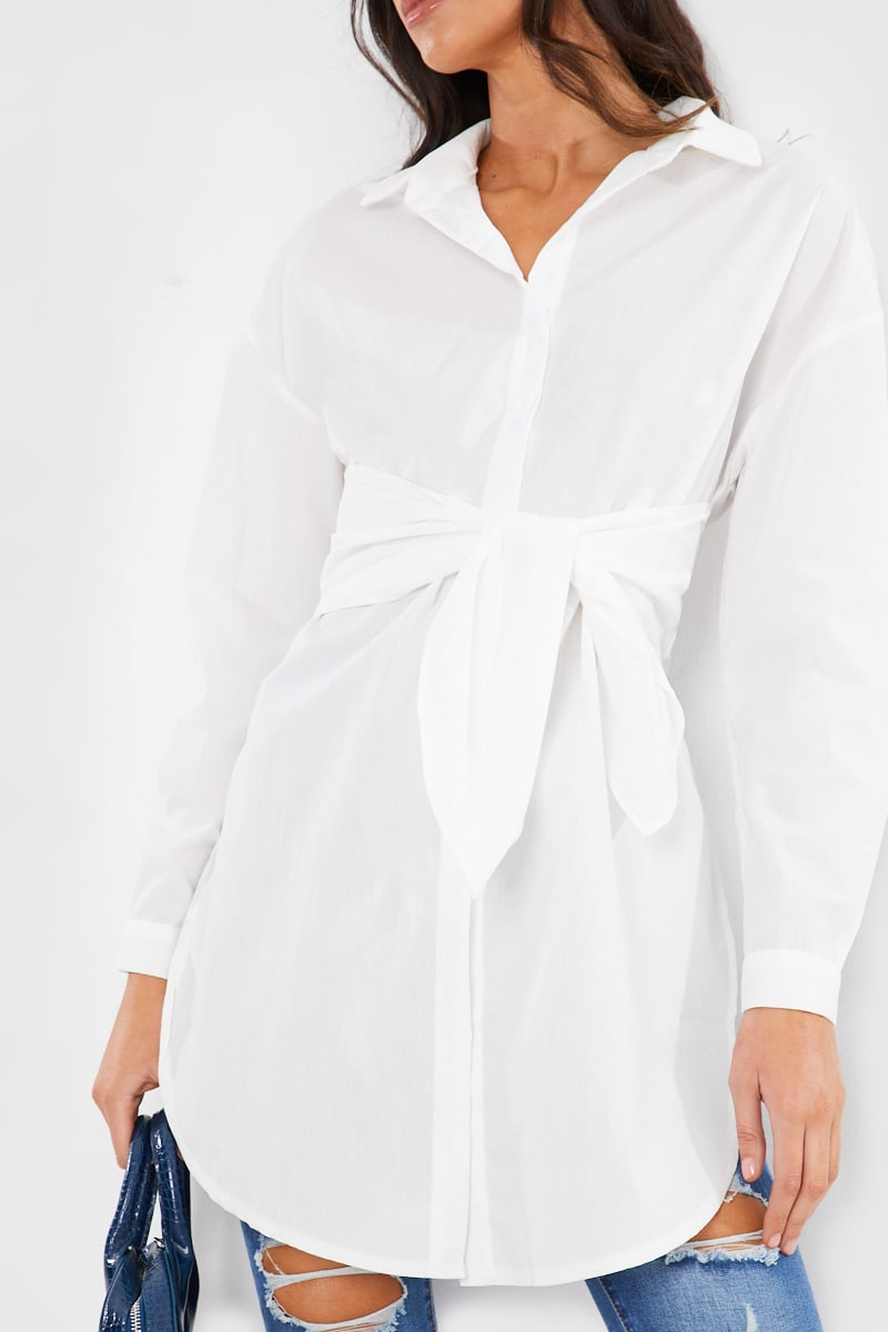 WHITE OVERSIZED TIE FRONT SHIRT MINI DRESS
