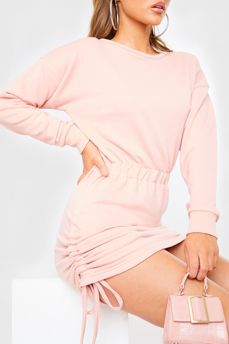 DUSKY PINK RUCHED MINI SWEATER DRESS