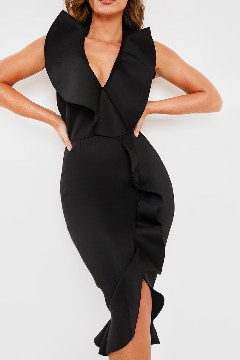 BLACK EXTREME FRILL HALTERNECK MIDI DRESS