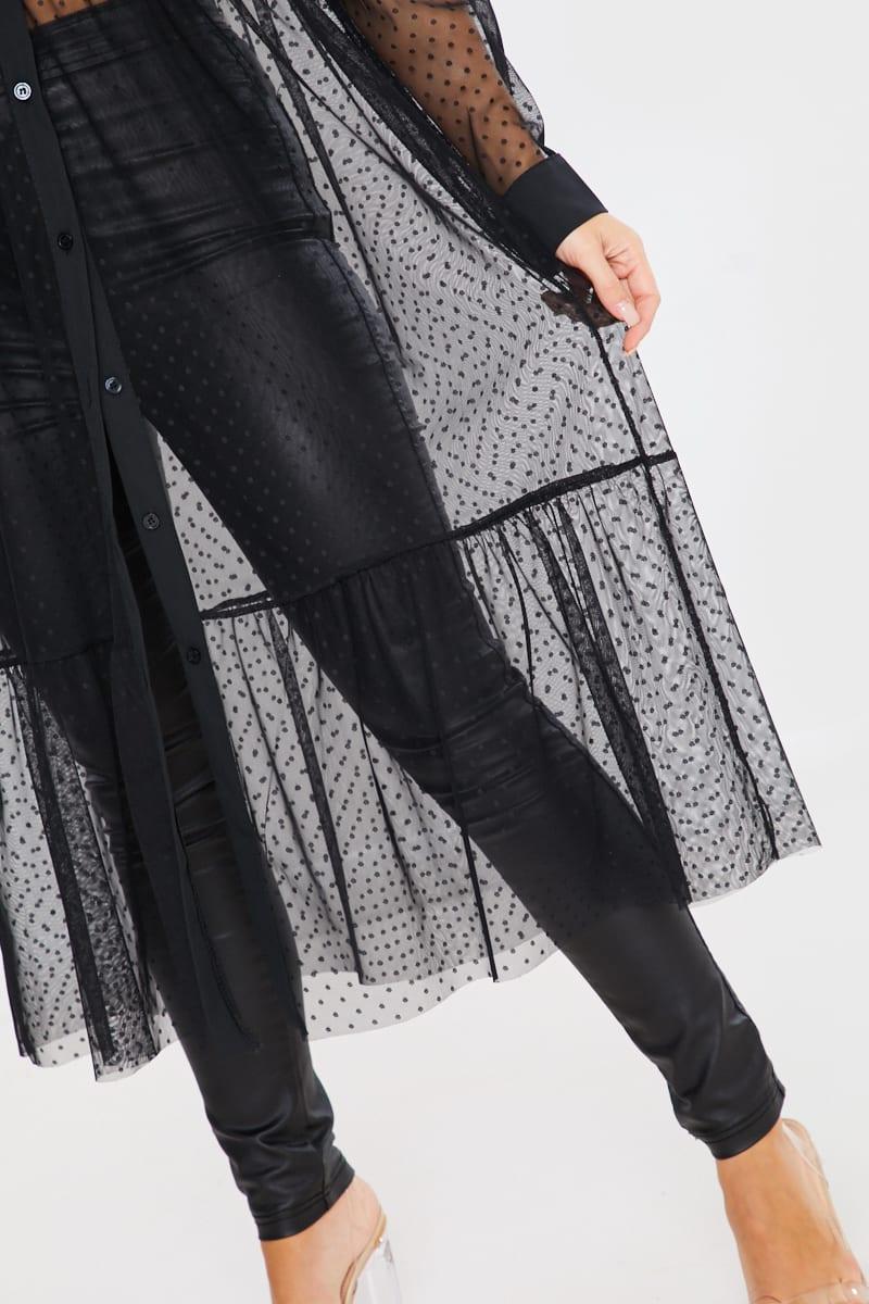 BLACK POLKA DOT MESH SMOCK MAXI DRESS