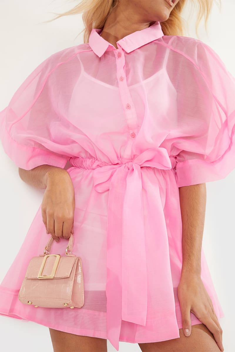 BRIGHT PINK ORGANZA TIE WAIST SHIRT DRESS