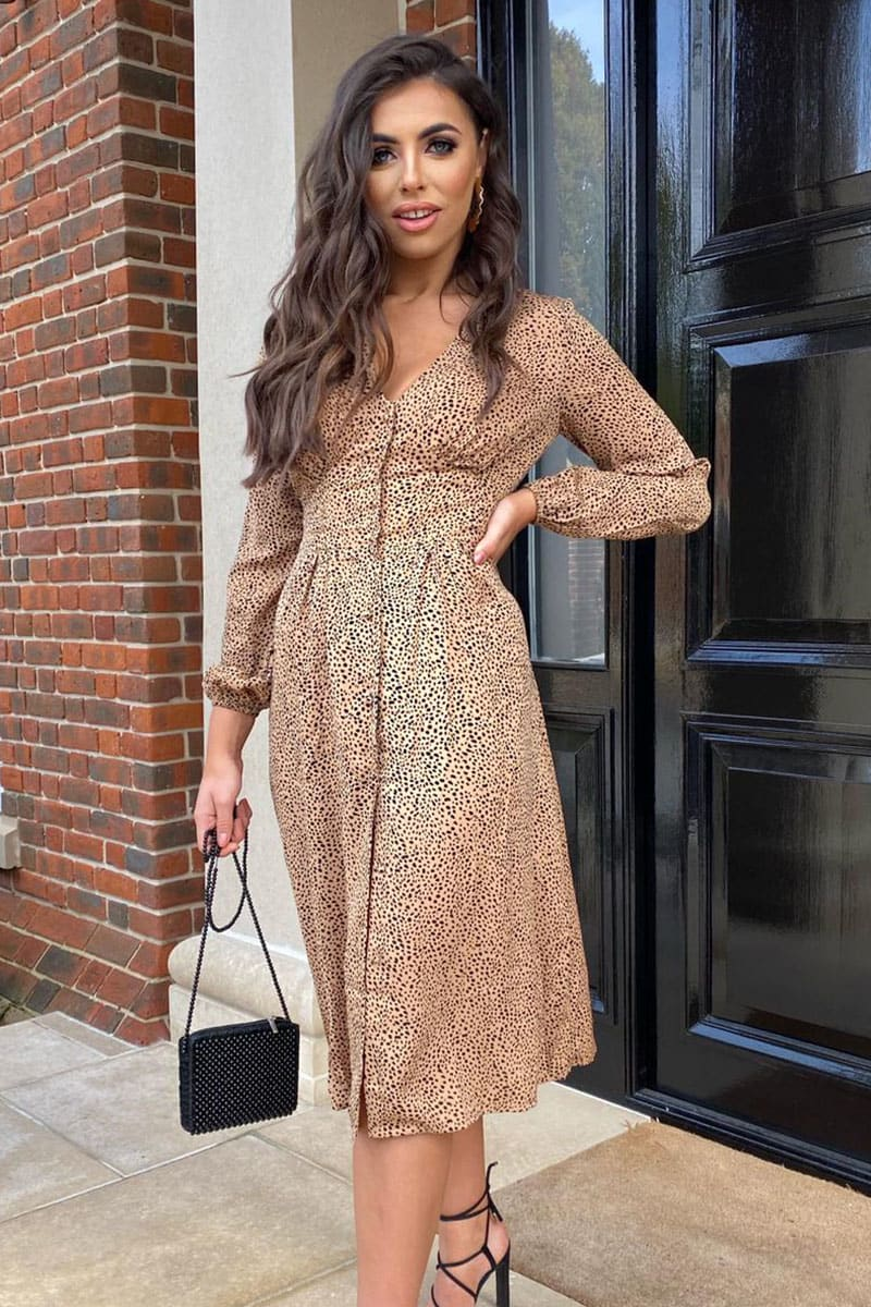 NUDE DALMATIAN BUTTON THROUGH MIDI DRESS