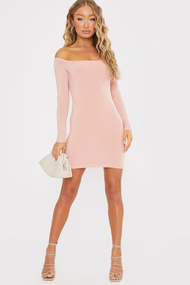 Pink Slinky Bardot Mini Dress | In The Style Australia