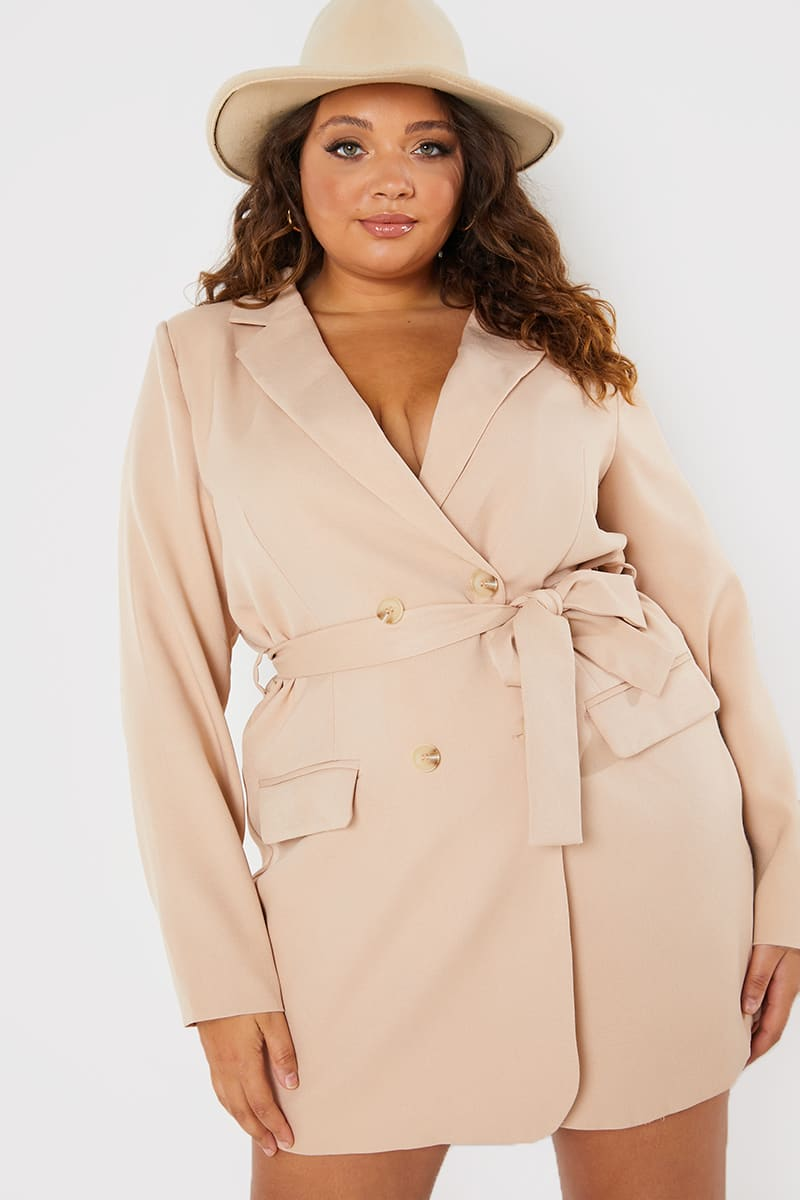 CURVE PERRIE SIAN STONE BELTED BLAZER DRESS