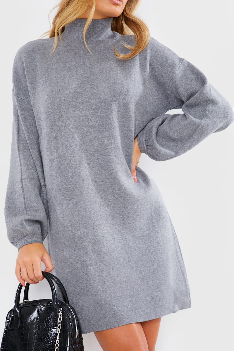 GREY HIGH NECK OVERSIZED KNITTED MINI JUMPER DRESS
