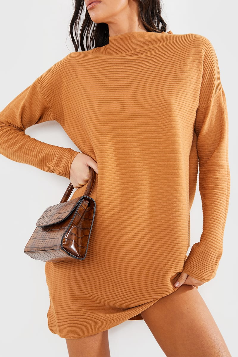 CAMEL SLOUCHY KNITTED JUMPER MINI DRESS