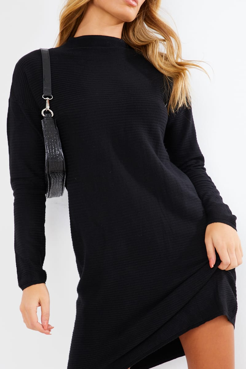 BLACK SLOUCHY KNITTED JUMPER MINI DRESS