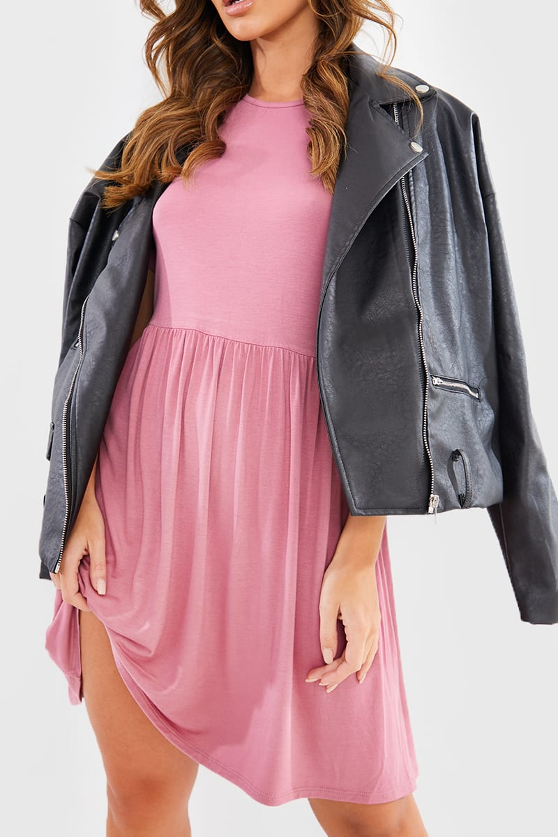 PINK ROLL SLEEVE SMOCK DRESS