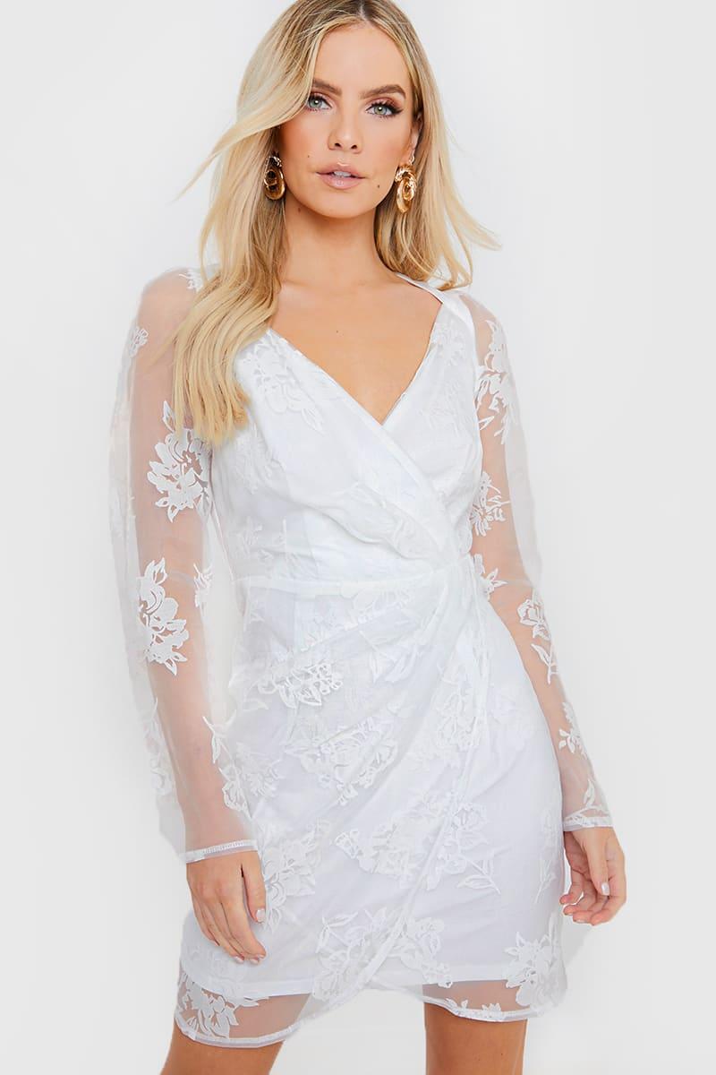WHITE FLORAL ORGANZA PUFF SLEEVE WRAP DRESS